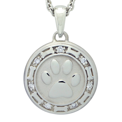 Paw and Bones with Diamonds Cremation Ash Pendant