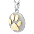 Yellow Gold Pawprint Petite Cremation Ash Pendant