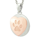 Rose Gold Heart and Paw Petite Cremation Ash Pendant