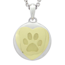 Yellow Gold Heart and Paw Petite Cremation Ash Pendant