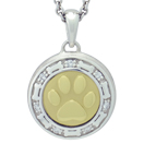 Yellow Gold Paw and Bones with Diamonds Cremation Ash Pendant